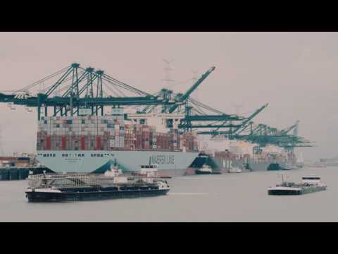 Madrid Maersk berths in the Port of Antwerp during maidentrip