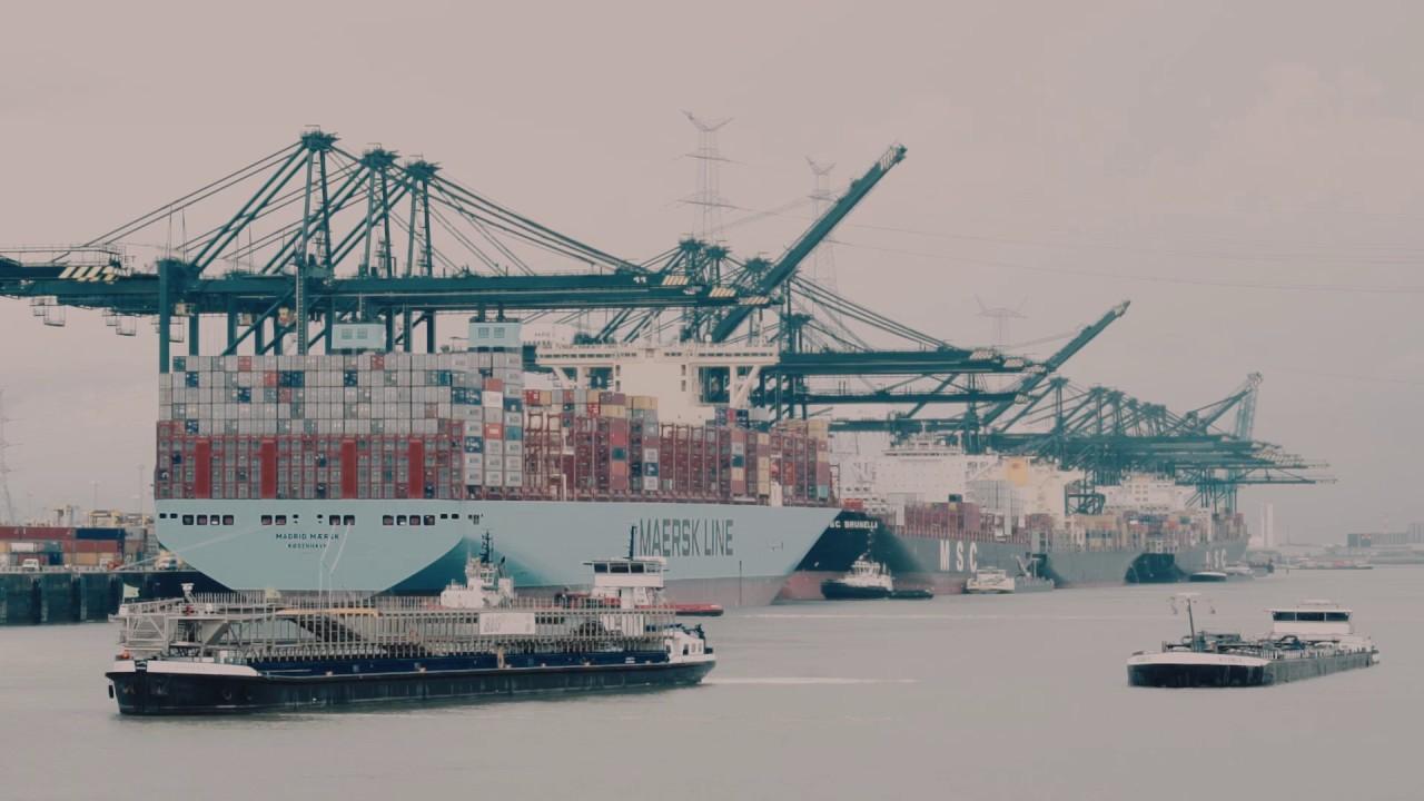 Madrid Maersk berths in the Port of Antwerp during maidentrip