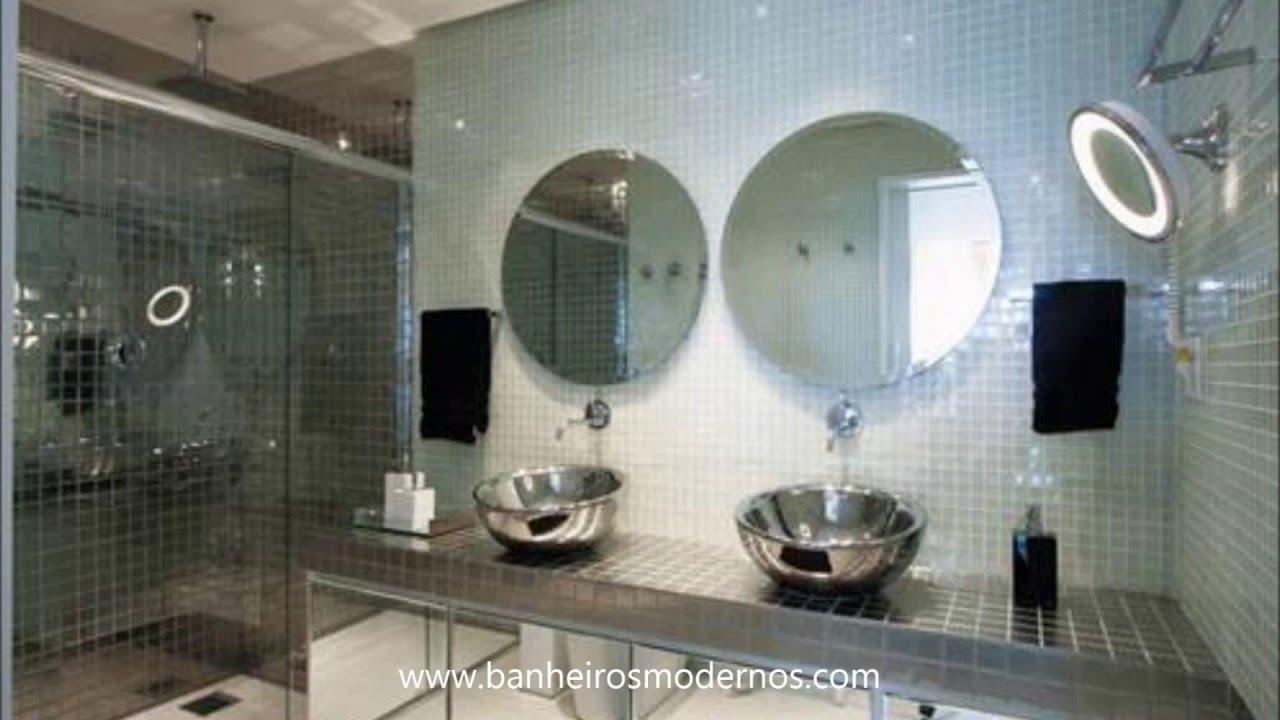 Decoração moderna com pastilhas para banheiro  YouTube -> Banheiro Cim Pastilha