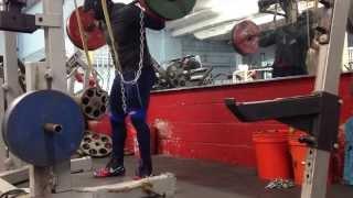 Kevin Oak Low Bar Squats & Deficit Hex Bar Deadlifts  2-25-14