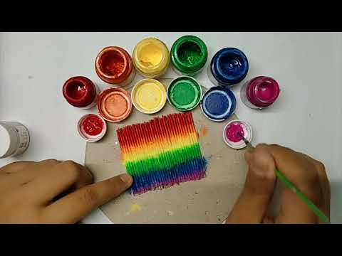 Rainbow🌈 landscape Painting 🎨 on Toothpicks / easy painting ideas for beginners 👍 / by AVUR'S ART