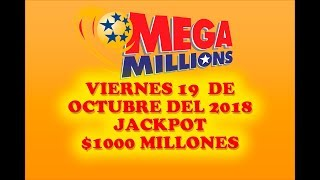Gambar cover Resultados Mega Millions 19 de Octubre 2018 $1 Billon de dolares $1000 Millones de dolares