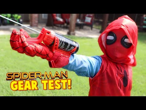 SpiderMan Homecoming Movie Gear Test! Real Web Shooters for Kids! Toys  by KIDCITY