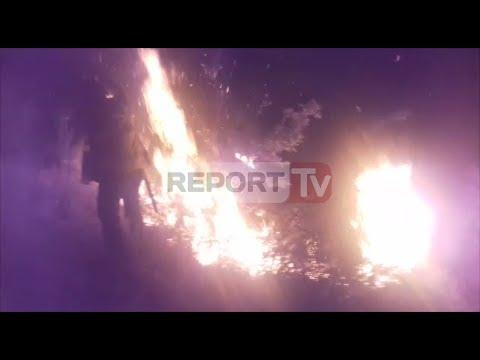 Report TV - FIER- Një zjarr i madh ka rënë në Qafën e Lalarit