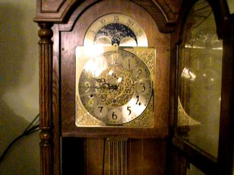 1984 Triple Chime Man And Moon Grandfather Clock Youtube