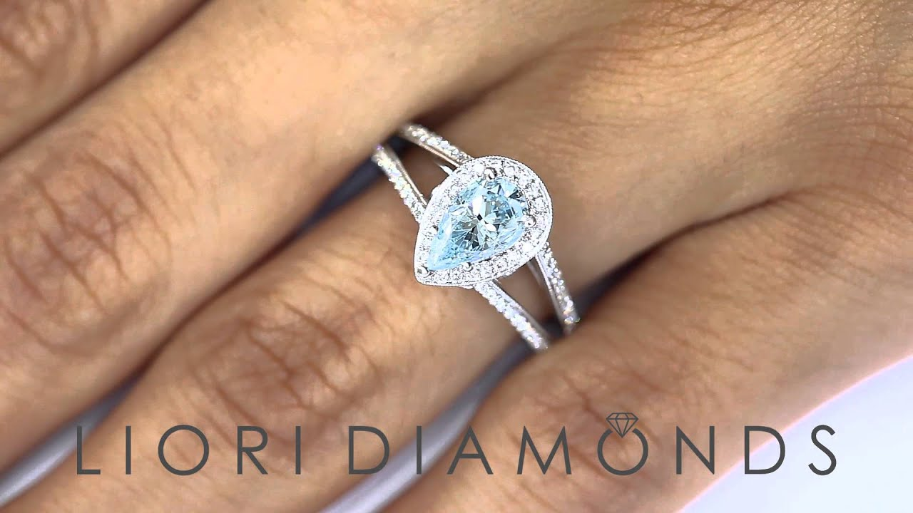 FD SOLD 088 1 50 Carat Fancy Blue Pear Shape Diamond Engagement