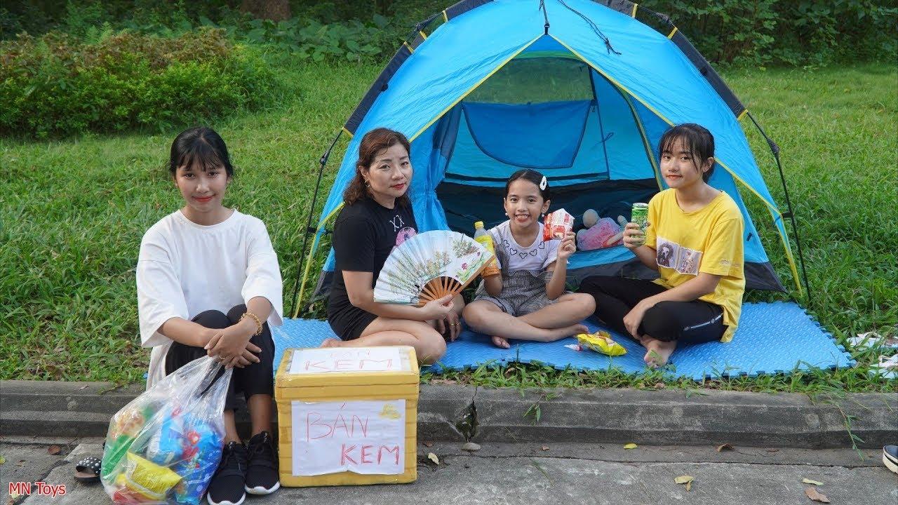 Đi Chơi Cắm Trại Ba Mẹ Con Mua Nước Ngọt và Bánh Mì Của Chị Bán Hàng Rong - MN Toys