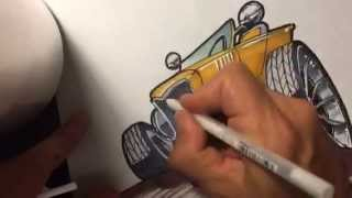 How to draw a HOT ROD - Part2 - (inking)