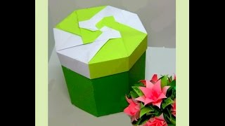 Beautiful Gift Box - origami (non modular). Easy tutorial. Hexagonal  box. Подарочная коробочка