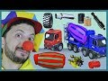Funny Clown Bob | Learn Construction vehicles Concrete Mixer assembly for kids | Video for kids