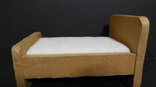 ダンボールで作るドールハウス ベッドの作り方The dollhouse made with a cardboard box  Way of making a bed