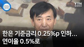 한은 기준금리 0.25%p 인하...연이율 0.5%로 …