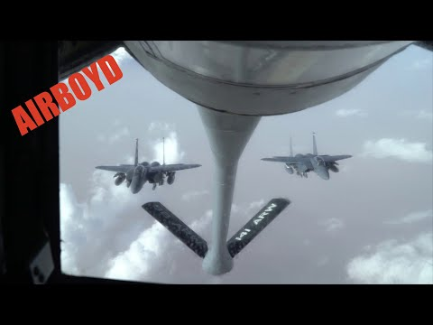 F-15 Strike Eagles Refueling - KC-135 Stratotanker