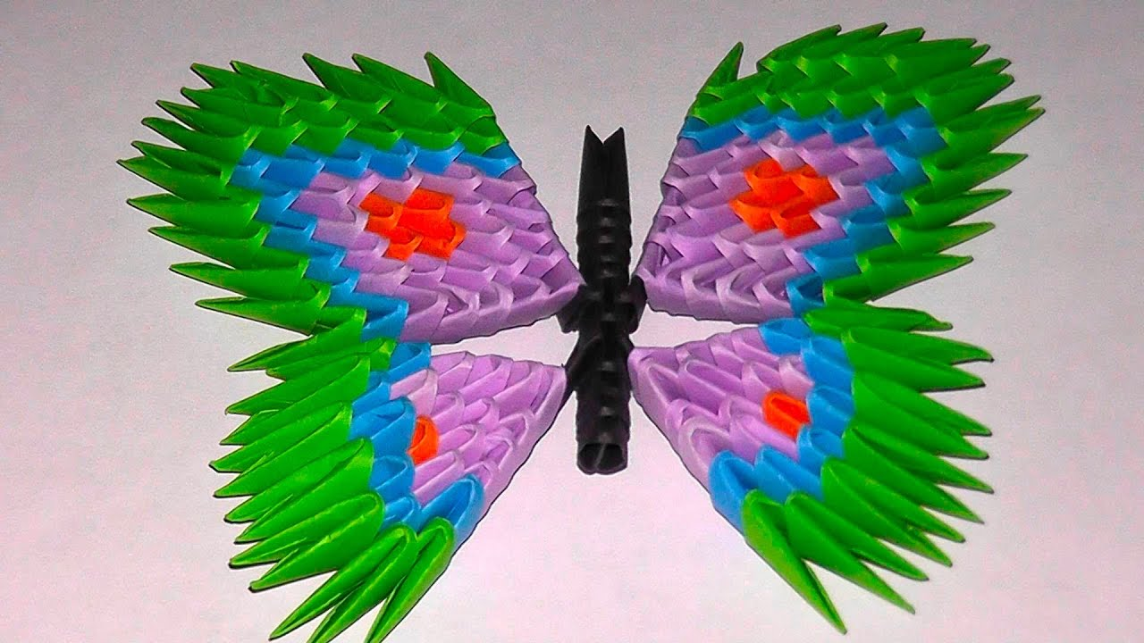 3D Origami Butterfly Assembly Diagram Tutorial Instructions Variant 2