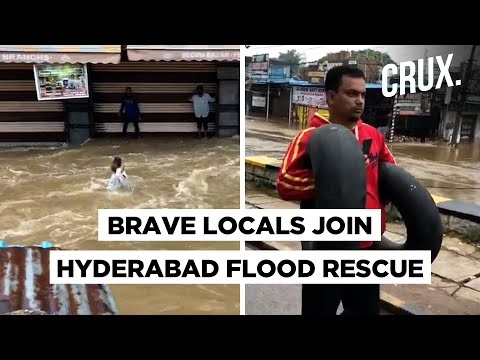 People, Animals And Cars Swept Away In Hyderabad Floods | Telangana Floods