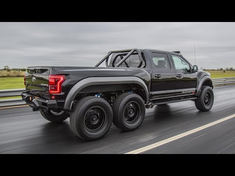 Hennessey Velociraptor 6x6 Pickup Truck Leaving SEMA Car Show Cruise