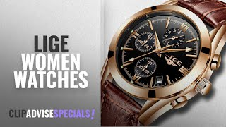 10 Best Selling LIGE Women Watches [2018 ]: Mens Watches Leather Analog Quartz Watch Men Date