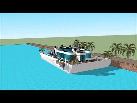 Houseboat Husbåd design architect Copenhagen København in DENMARK luxury floating barge project cons