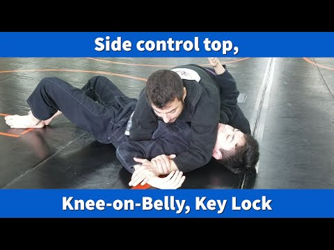 Side control, knee on belly, Key Lock (Americana)