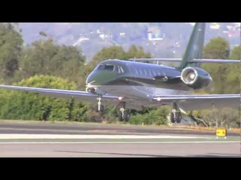 EXCLUSIVE: Harrison Ford Lands His Twin Jet Cessna at Santa Monica Airport