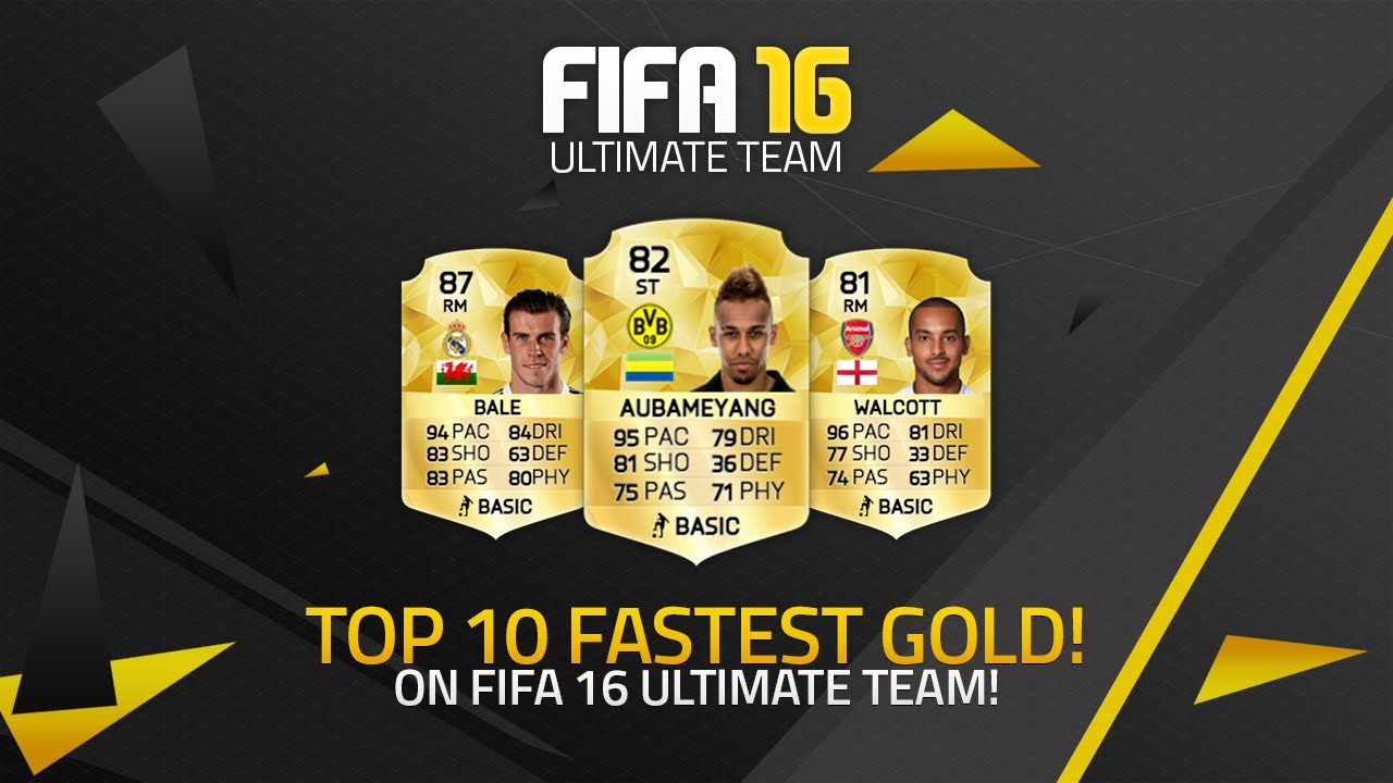 FIFA 16 TOP 10 FASTEST GOLD PLAYERS! w/ WALCOTT, AUBAMEYANG & MORE