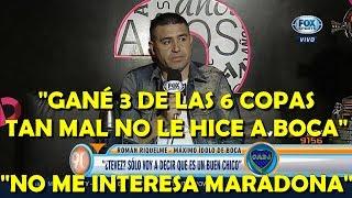 """Roman Riquelme responde a Tevez """"Es un buen chico"""" y Maradon..."""