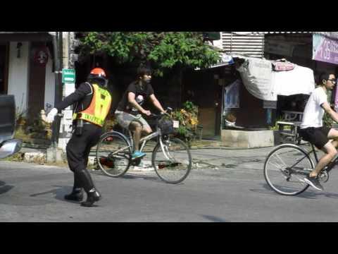 Cheerful dancing policeman