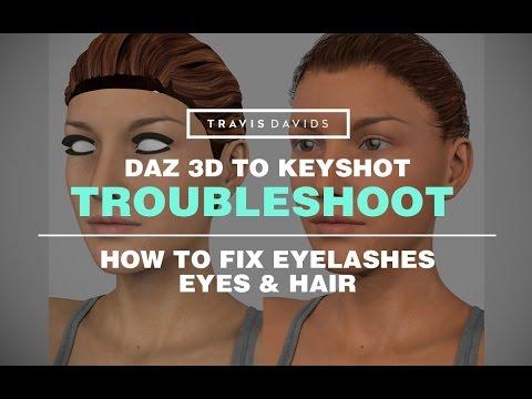 Daz 3D & Keyshot - How To Fix Eyelashes, Eyes & Hair