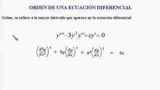 Definición de ecuación diferencial, grado, orden y linealidad.