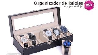Caja organizadora para 6 relojes Estuche en Cuero - aPreciosdeRemate
