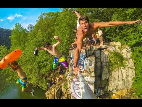 Pennsylvania Cliff Jumping (HD) - Awesome Flips