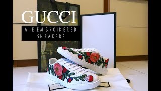 e0db2fee490 GUCCI FLORAL EMBROIDERED ACE SNEAKERS UNBOXING   TRY ON ♕ XO SJOCELYN