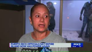 Puerto Rico officials say all of island now has power again