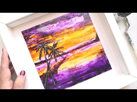 Beautiful sunset landscape painting|Easy glass painting technique using knife |purple beach painting