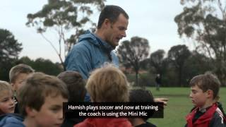 Young Boy Uses Wireless Mini Mic to Hear Soccer and Swim Coaches During Practice