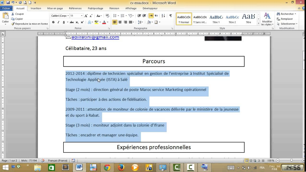cr u00e9er un cv pro de a  u00e0 z part 2- word 2010  darija