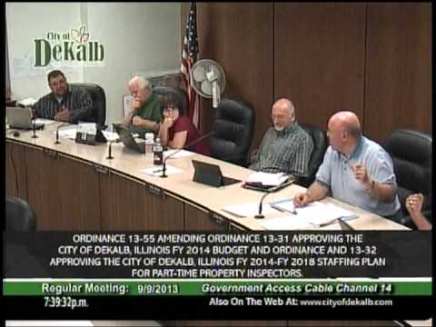 Inspection Bureau DeKalb Illinois City Council Full discussion 9.9.13