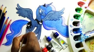 how to draw my little pony Princess Luna with water colors-Slow mode