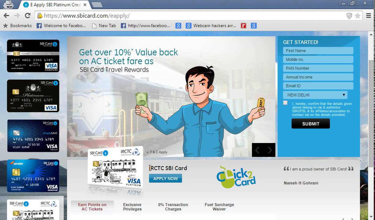 How To Apply Sbi Credit Card Online Youtube
