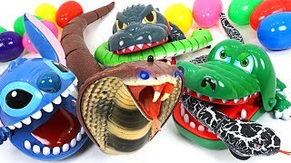 King Cobra and Snake appeared! Transform into super Stitch, Crocodile, Dinosaur!! - DuDuPopTOY
