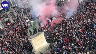 WOW! Ajax-fans bouwen groot feest in Madrid tijdens Entrada