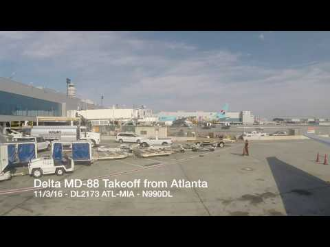 ATL to MIA - Delta MD-88 Takeoff from Hartsfield-Jackson Atlanta International Airport