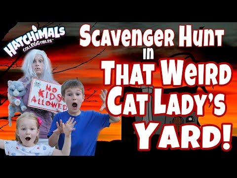 Scavenger Hunt In Our Backyard And The Weird Cat Lady Next Door!!!!!!!!!!