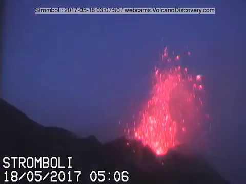 Stromboli volcano activity 17-18 May 2017