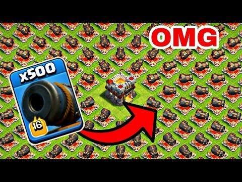 500 Max Cannon VS 500 Cannon Cart attack on COC private server | WHO WILL WIN ?