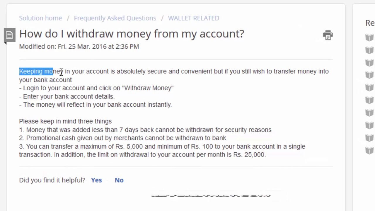 How to Withdraw Money from Freecharge Wallet to Bank