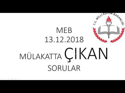 MÜLAKATIN 2. GÜN SORULARI | 13.12.2018