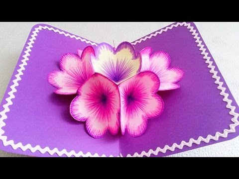 Diy 3d flower pop up card youtube for 3d christmas cards to make at home