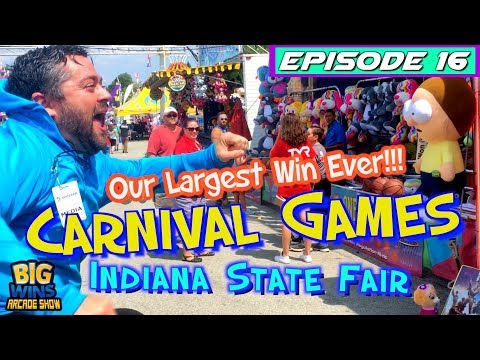 Episode 16: 'Our Largest Win Ever!!!' Carnival Games, Indiana State Fair - Big Wins! Arcade Show