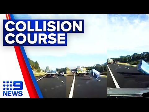 Traffic chaos after truck loses load on M7 | 9 News Australia